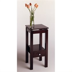 Winsome Linea Brown Wood End Table with Chrome Accents in Dark Espresso