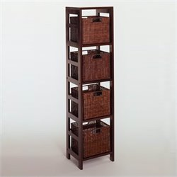 Winsome Leo 5 Piece Set Shelving Unit in Espresso