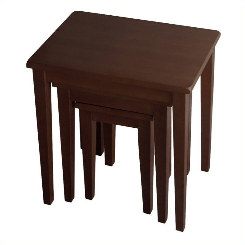 3 Piece Solid Wood Nesting Tables in Anitque Walnut