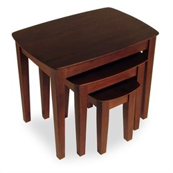 Winsome Solid Wood 3 Piece Nesting/End Tables in Antique Walnut