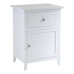 Nightstand Accent Table with Drawer in White