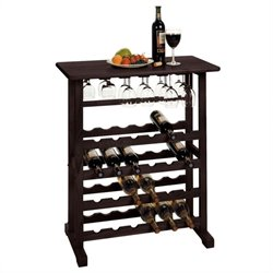 Wine Rack and Glass Holder in Dark Espresso