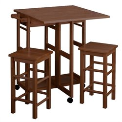 Winsome Space Saver with 2 Square Stool in Teak