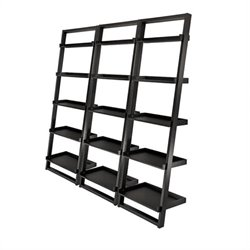 5-Tier Ladder Bookcase Set in Black