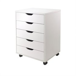 Winsome Halifax Cabinet for Closet/Office with 5 Drawers in White Finish