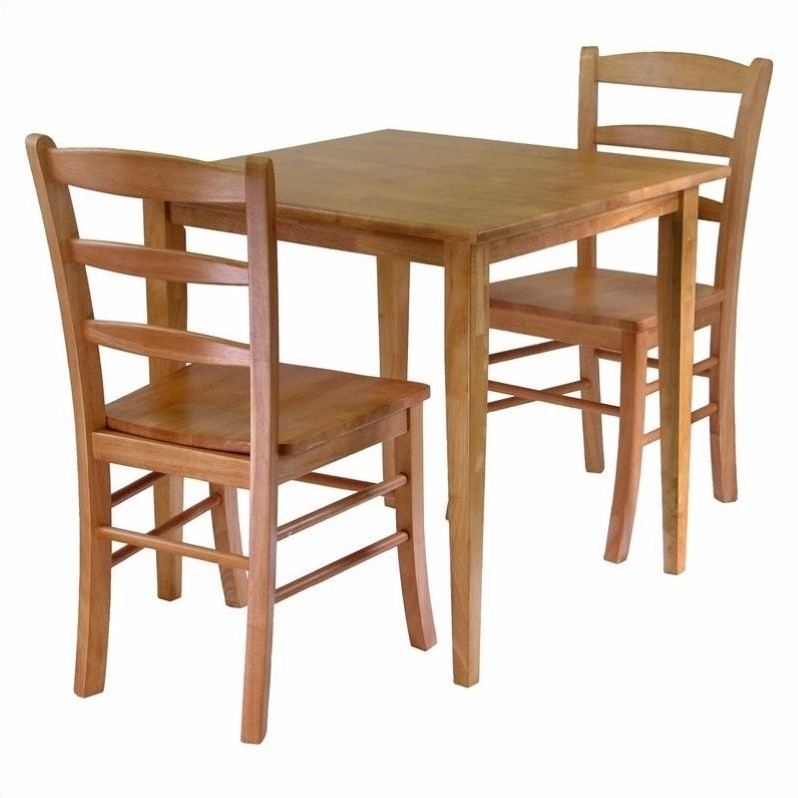 Square 3 piece square dining set in light oak 34330 for Square dinette sets