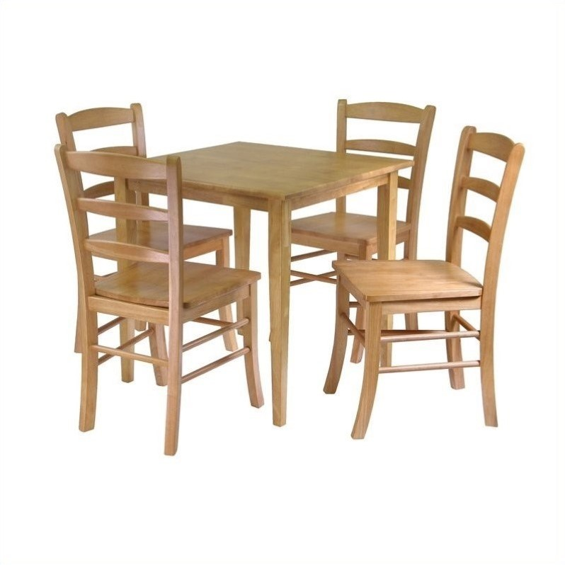 square 5 piece square dining set in light oak 34530