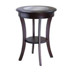 Winsome Cassie Round End Table with Glass in Cappuccino Finish
