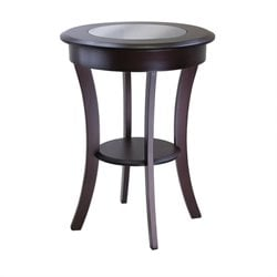 Cassie Round End Table with Glass in Cappuccino Finish