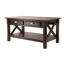 Winsome Xola Coffee Table with 2 Drawers in Cappuccino Finish