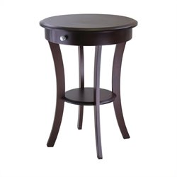 Winsome Sasha Round Accent End Table in Cappuccino Finish