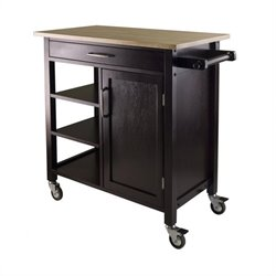 Winsome Mali Kitchen Cart in Beech/Espresso Finish