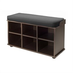 Winsome Townsend Bench with Black Cushion Seat in Dark Espresso Finish