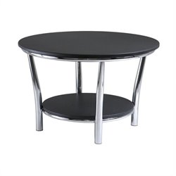 Round Coffee Table Top with Legs in Black/Metal Finish