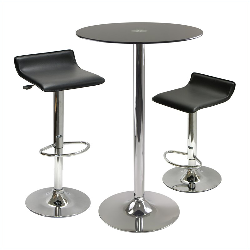 Rossi 3 Piece Round Pub Set with Air Lift Stools in Black