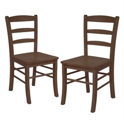 Winsome Ladder Back Dining Chair in Antique Walnut Finish (Set of 2)