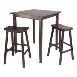 Winsome Kingsgate 3 Piece Square Pub Set in Antique Walnut Finish