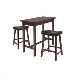 Winsome 3 Piece Rectangular Dining Set in Antique Walnut Finish