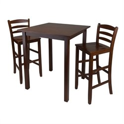 Parkland 3 Piece Square Dining Set in Antique Walnut Finish