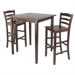 3 Piece Square Pub Dining Set in Antique Walnut