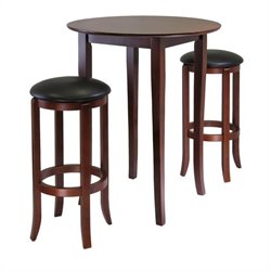 Winsome Fiona 3 Piece Round Pub Dining Set in Antique Walnut Finish
