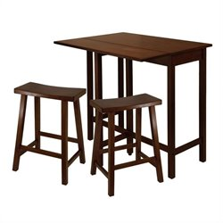 Winsome Lynnwood 3 Piece Kitching Dining Set in Antique Walnut