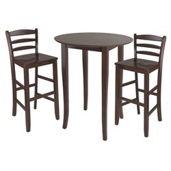 Fiona 3 Piece Dining Set in Antique Walnut Finish