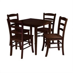 Groveland 5 Piece Dining Set in Antique Walnut Finish