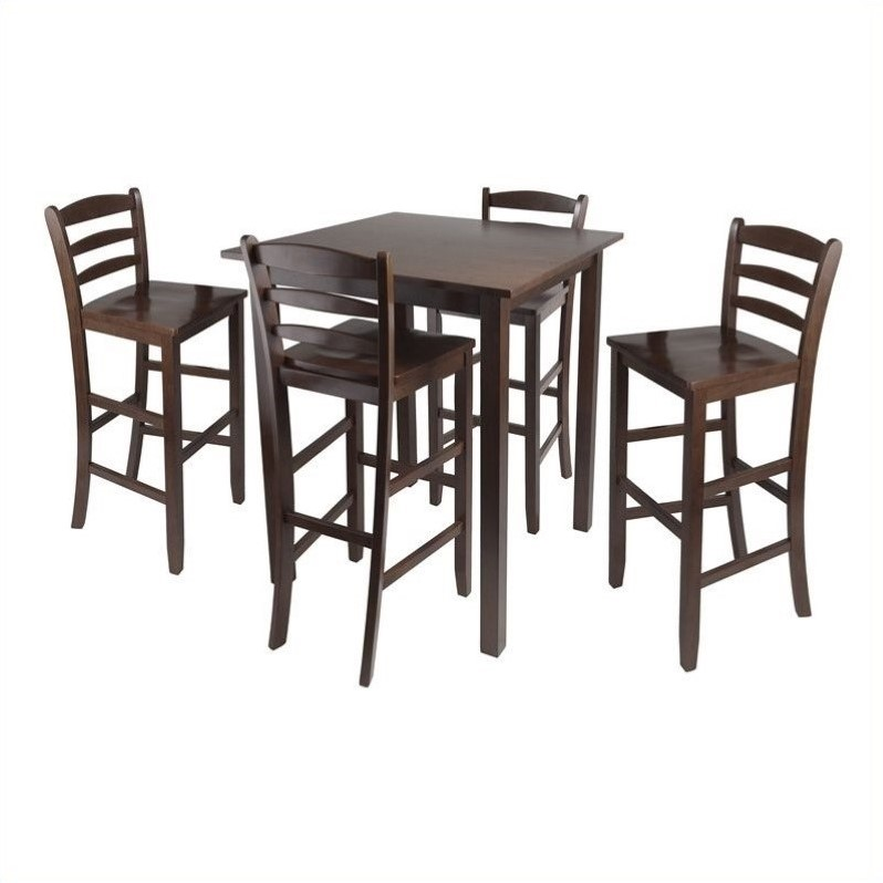 5 piece square dining set in antique walnut 94559 for Square dinette sets