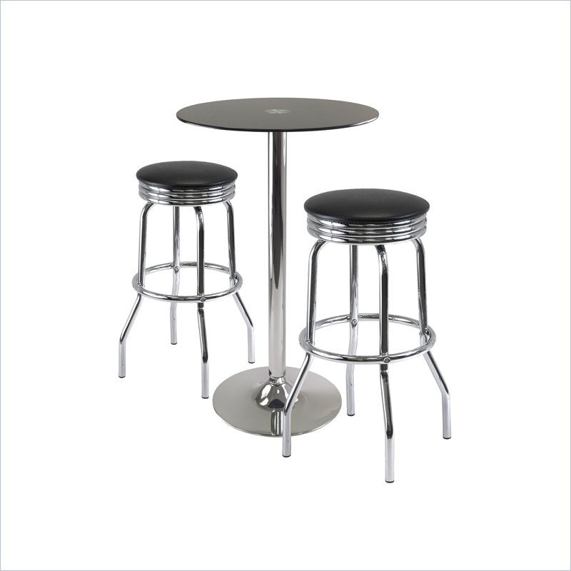 Rossi 3 Piece Pub Set with Swivel Stools in Black
