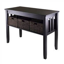 Winsome Morris Console Hall Table with 3 Foldable Baskets in Espresso