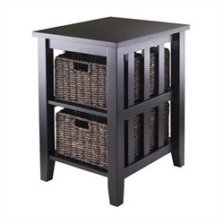 Morris Side Table with Two Foldable Baskets in Espresso