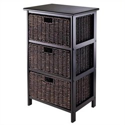 Storage Rack with 3 Foldable Baskets in Black