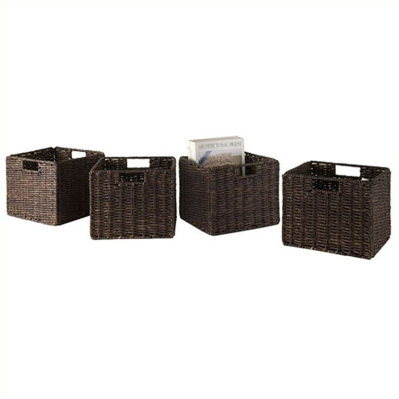 Winsome Granville Foldable 4 Piece Small Baskets in Chocolate