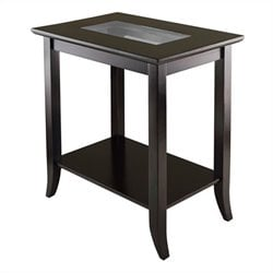 Rectangular End Table with Glass Top in Dark Espresso