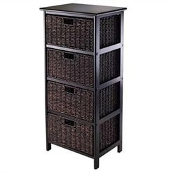 Storage Rack with 4 Foldable Baskets in Black