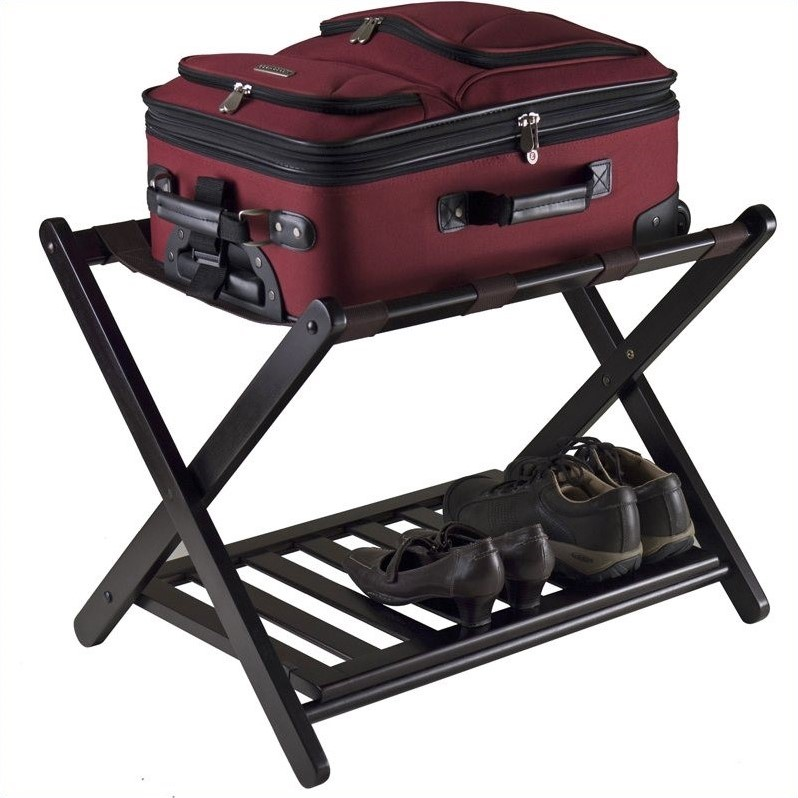 Winsome Reese Foldable Luggage Rack with Shelf in Dark Espresso