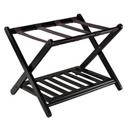 Foldable Luggage Rack with Shelf in Dark Espresso