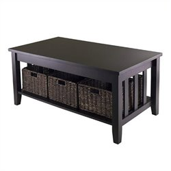 Winsome Morris Coffee Table with Three Foldable Baskets in Espresso