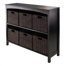 3-Tier Storage Shelf in Dark Espresso with 6 Baskets