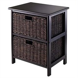 Storage Rack with 2 Foldable Baskets in Black