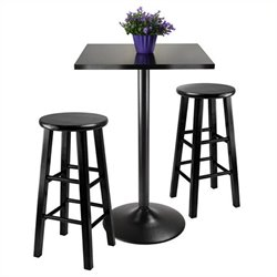 Winsome Obsidian 3 Piece Pub Table with 24 inch Stools in Black