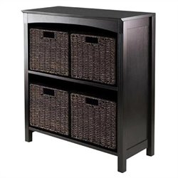 Winsome Terrace 5 Piece Storage 3 Tier Shelf in Dark Espresso