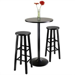 Winsome Obsidian 3 Piece Pub Table with 29 inch Stools in Black