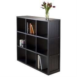 Winsome Timothy 3x3 Shelf with Wainscoting Panel in Black