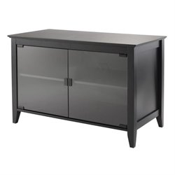 Winsome Vidal TV Stand Double Glass Doors in Black