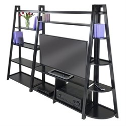 Winsome Adam 3Pc TV Stand with Corner and Book Shelf in Black