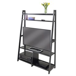 Winsome Adam TV Stand A-Frame with Shelves in Black