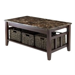 Faux Marble Top Coffee Table in Chocolate