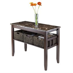 Winsome Zoey Faux Marble Top Console Table with 3 Baskets in Chocolate